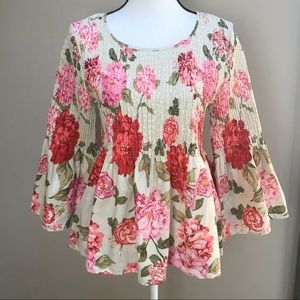 Jane and Delancey Floral Smocked Bell Sleeve Top M